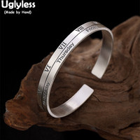 Uglyless Real 925 Sterling Silver Week Bangles for Lovers Roman Number Open Bangles Inside Carved Feather Bracelets Fine Jewelry