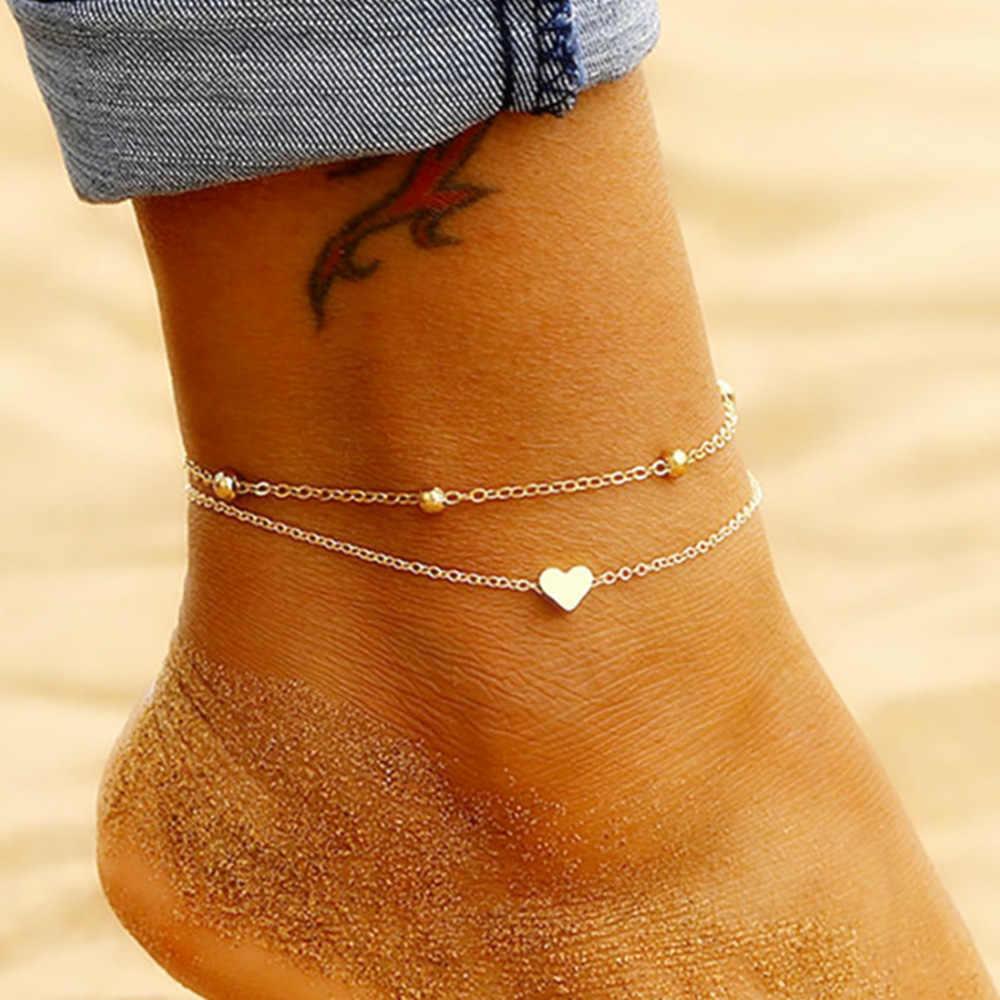 シンプルな足首のレイヤリングペンダント足ジュエリー夏サンダルビーチアンクレットに足足首ブレスレット女性の脚チェーン