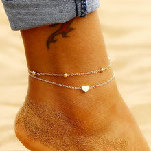 Simple Heart Ankle Layering Pendant Anklet Beaded Foot Jewelry Summer Beach Anklets On Foot Ankle Bracelets For Women Leg Chain(China)