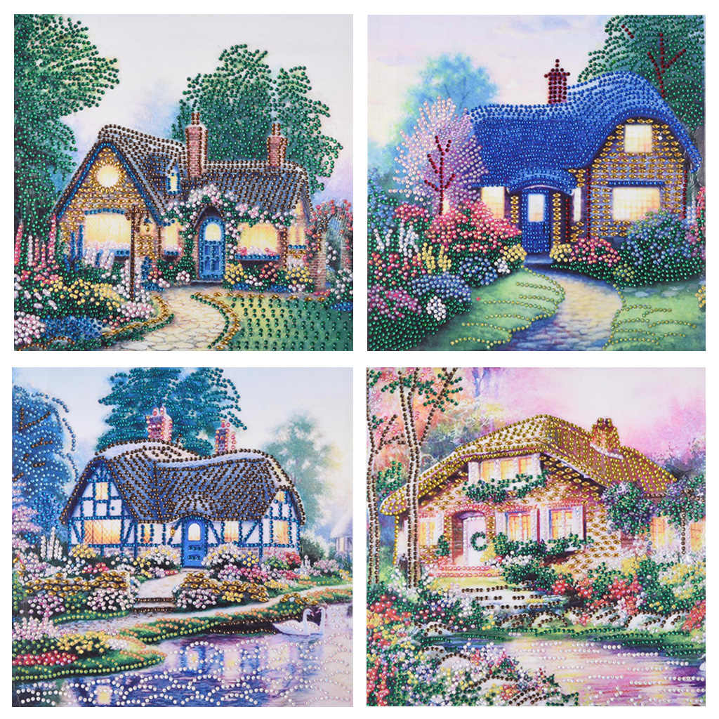 5D DIY Diamond Painting Cottage Villa partial special shaped Rhinestone Cross Stitch Room Decoration Art Needlework Embroidery