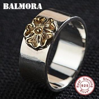 BALMORA 925 סטרלינג כסף זהב צבע פרח טבעות נשים גברים אוהבי מתנה תאילנדי כסף פשוט תכשיטים Anillos SY21510