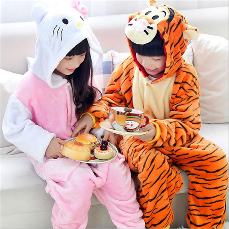 Super Soft Children s Cartoon Animal Flannel Pajamas for Boys Girls Pijamas pink KT cat yellow