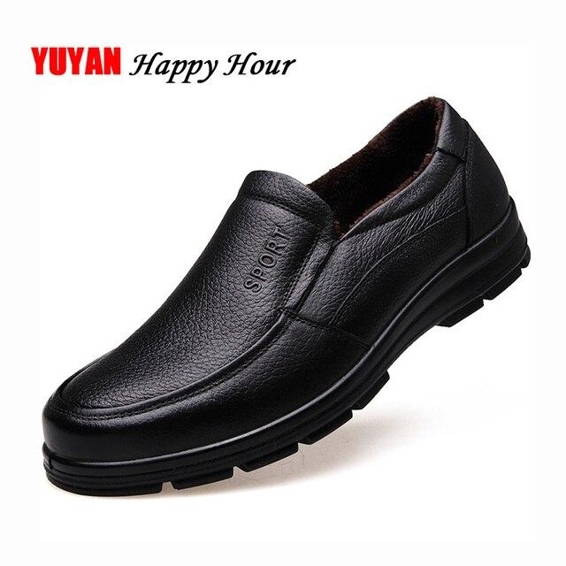 أحذية من الجلد الحقيقي الرجال أحذية الشتاء ماركة الأحذية أحذية دافئة أفخم حذاء كاجوال رجالي الذكور عالية الجودة جلد البقر المتسكعون KA444