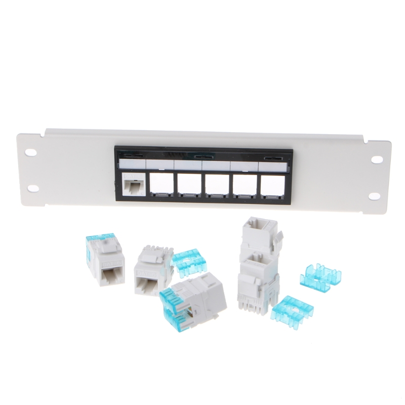RJ45 CAT6 6 Ports Patch Panel Frame With RJ45 Keyston Module Jack Connector|Networking Tools| |  - title=