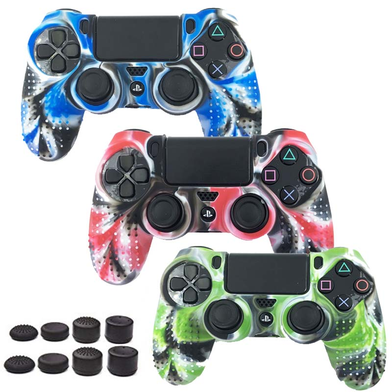9 in 1 for Dualshock 4 PS4 Slim Pro Controller Studded Skin Premium Protective Anti-slip Soft Silicone Grip Case Cover Camo