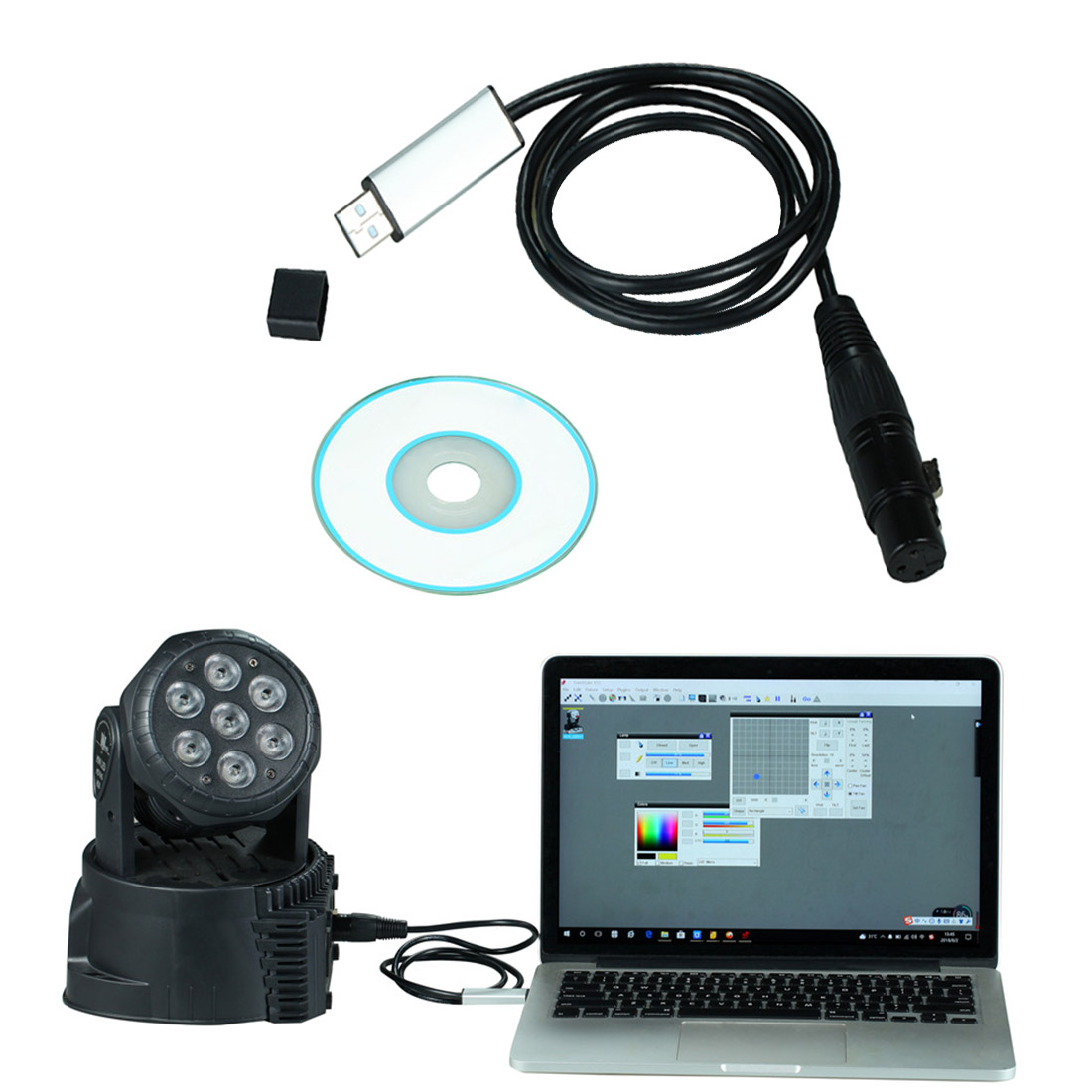 USB to DMX Interface Adapter Cable 110cm Length Stage Light PC DMX512 Controller Dimmer DMX USB Signal Conversion