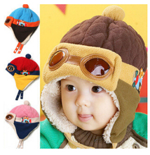 4 цветов Горячие Дети Ребенок Ребенка Зимой Пилот Cap gorro Малышей Авиатор Наушники Защиты Шапочка Hat, шляпы для детей