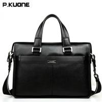 P KUONE Brown Black Genuine Leather Briefcase Brand Cow Leather Handbag Crossbody Laptop Bag Men Men