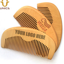 100pcs/lot Customized Combs Engraved Logo Natural Peach Custom Wooden Comb Beard Pocket 11.5*5.5*1cm Promotional Gifts