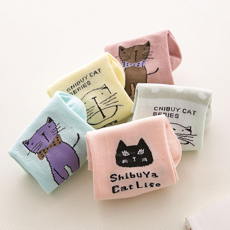 10pcs=5pairs Cute Cartoon Animal Cats Pattern Lovely Women   Socks   Summer Fashion Casual Harajuku Style Cotton   Socks   Women
