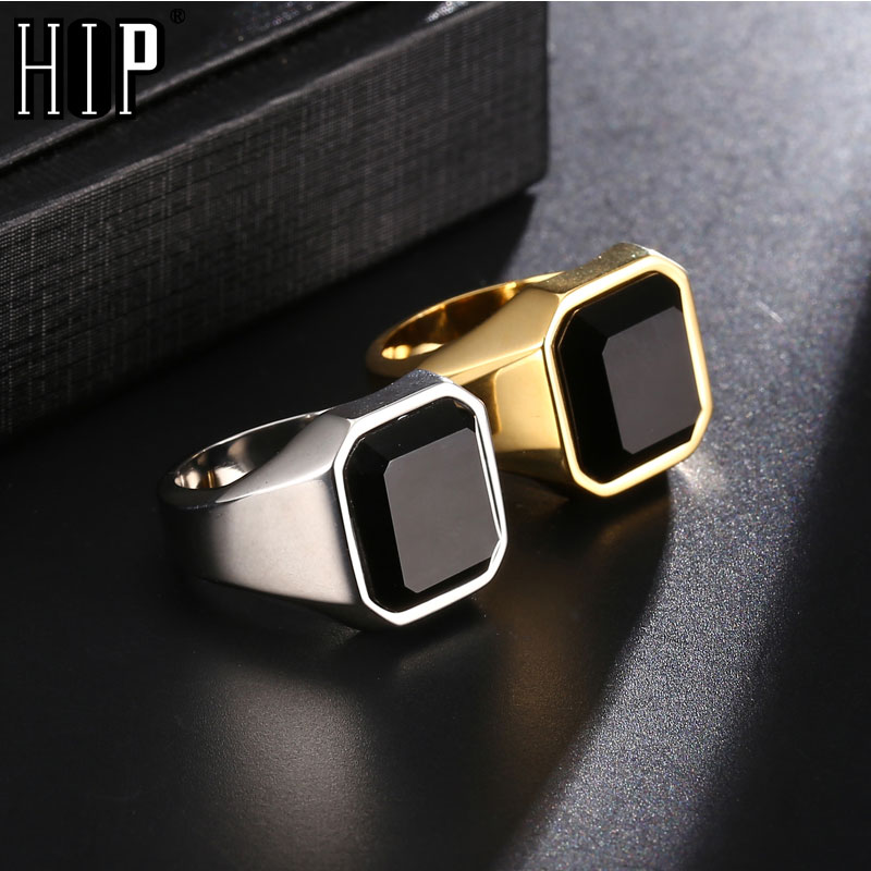 Hip Hop Stainless Steel Obsidian Natural Stone Wedding