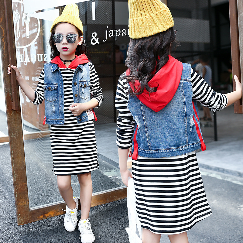 2018 New Children Autumn Spring Suit Girls Long Sleeved Striped T-shirt and Denim Vest Two Piece Suit Hooded Girls Dress