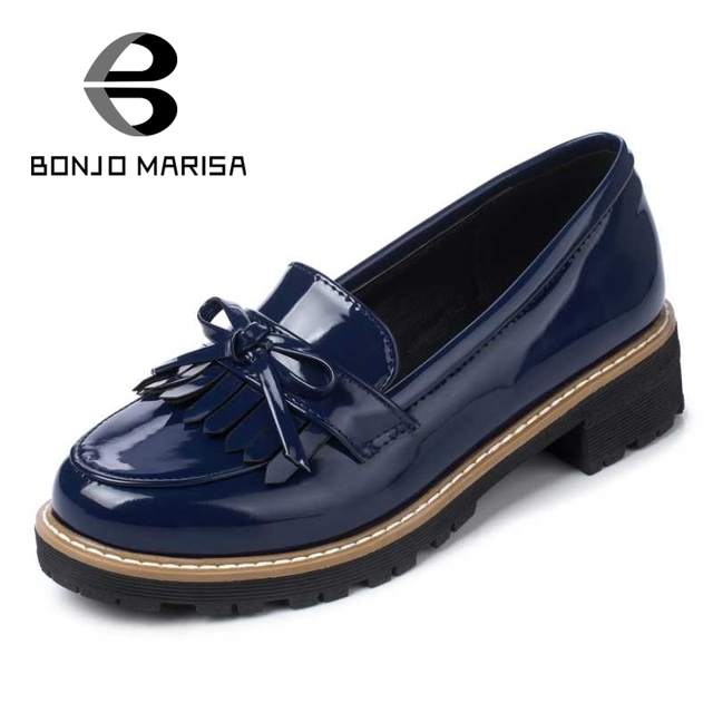 BONJOMARISA Brand Designer Women Flats Sweet Little Bowtie Rubber Sole Platform Shoes Patent Upper Tassel Loafers