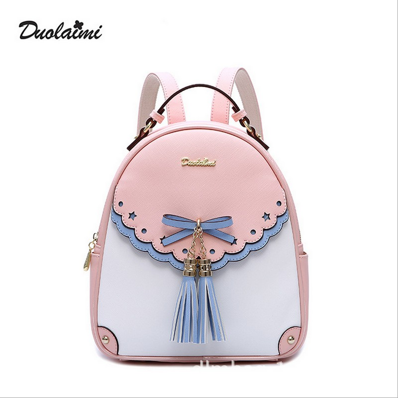 Fashion Embroidery Girl Backpacks Cute School Bags New Women Backpack PU Leather Female Tassel  Shoulder Bag 2017 new embroidery butterfly women backpack school bags for girls brand shoulder bag fashion pu leather ladies travel backpacks