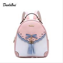 Модные Вышивка девушка Рюкзаки милые Школьные сумки новый Для женщин рюкзак кожаный женский кисточкой сумка
