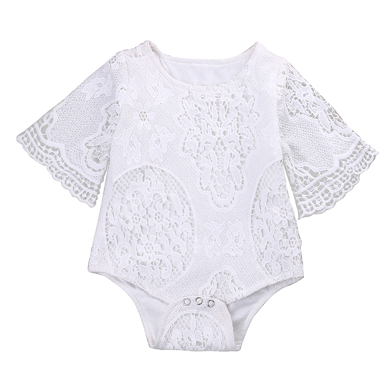 Summer Newborn Baby Girl White Lace   Romper   Short Sleeve Princess Kids Jumpsuit Outfit Sunsuit Clothes