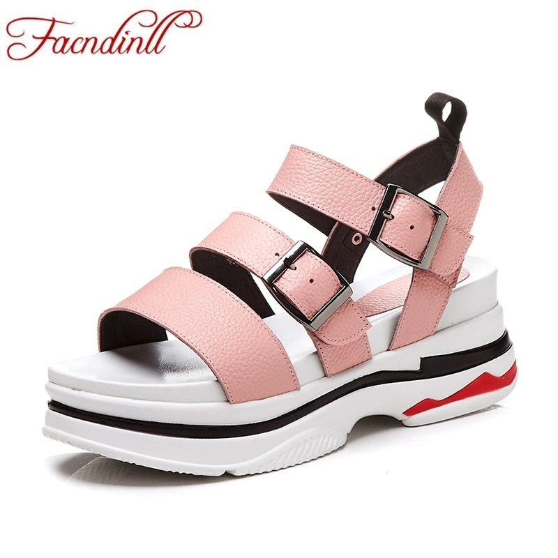 FACNDINLL fashion genuine leather summer shoes woman wedges platform sandals new pink buckle flat sandals ladies casual shoes facndinll new women summer sandals 2018 ladies summer wedges high heel fashion casual leather sandals platform date party shoes