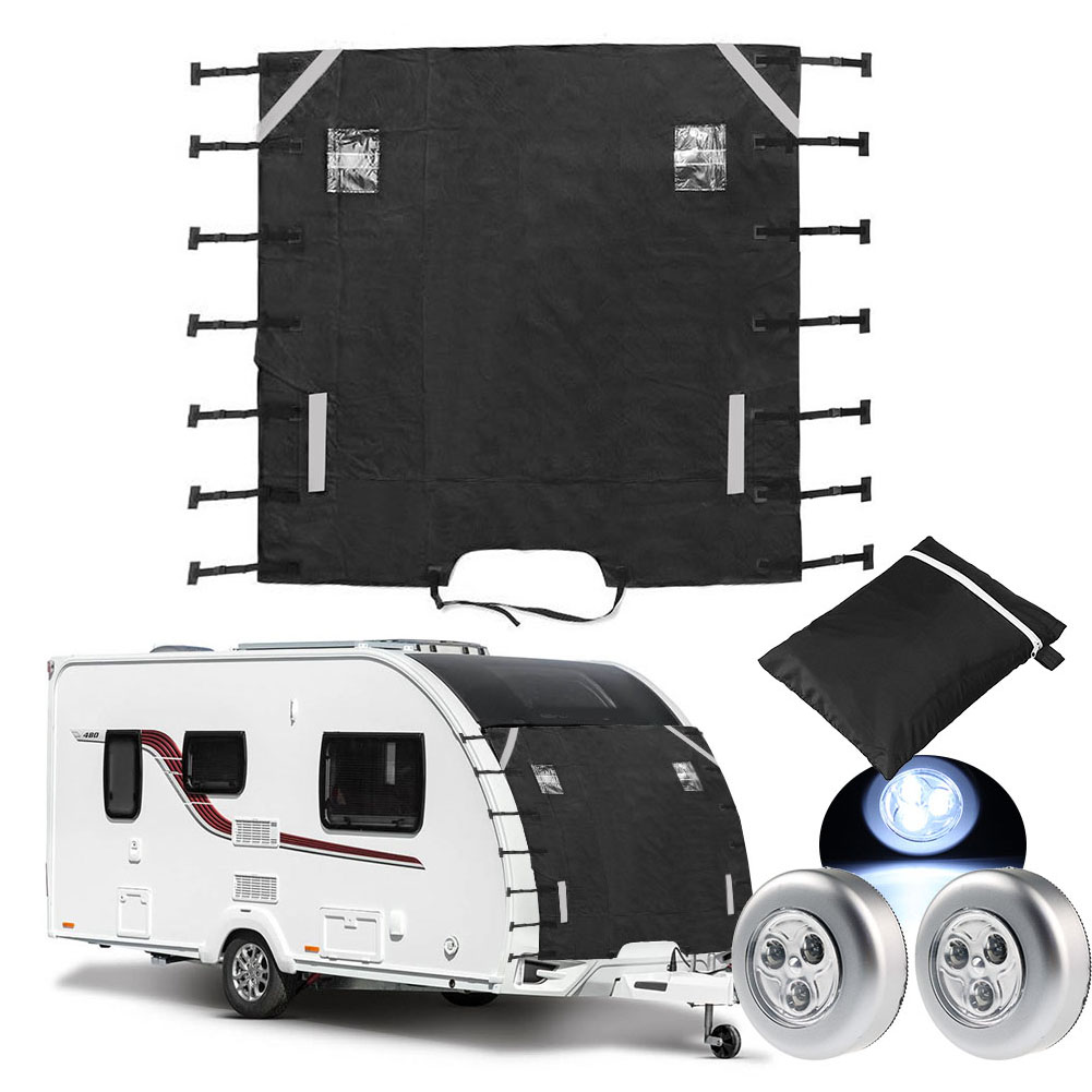 Universal Caravan Front Towing Cover Waterproof Dustproof with LED Lights for RV Motorhome Reflective Strip