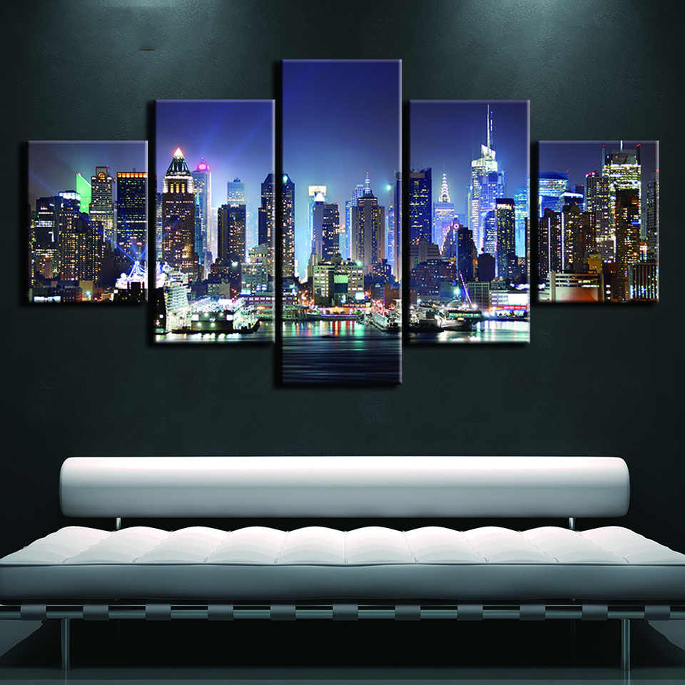 Abstract Decorative Wall Art Modular Pictures 5 Panel New York Framework Canvas Painting For Living Room Bedroom Prints