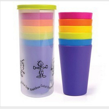 7 color rainbow cup plastic cup, household products, kitchenware, plastic cups of coffee Outdoor camping portable plastic cup
