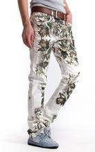 Горячая продажа Новых людей прибытия печати Сращены джинсы мода тонкий джинсовые брюки