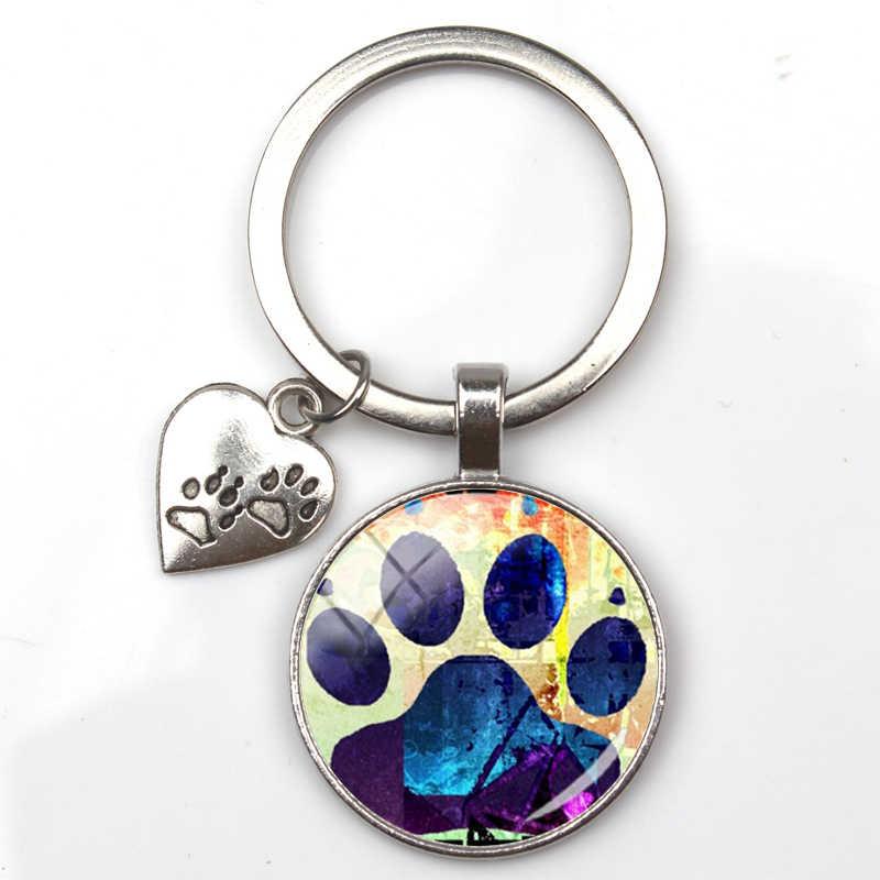 אופנה חמוד בעלי החיים paw הדפסת keychain חתול כלב אני אהבת זכוכית תליון מיני לב keyring רכב מפתח איש ילדה האהובה מתנה למזכרת