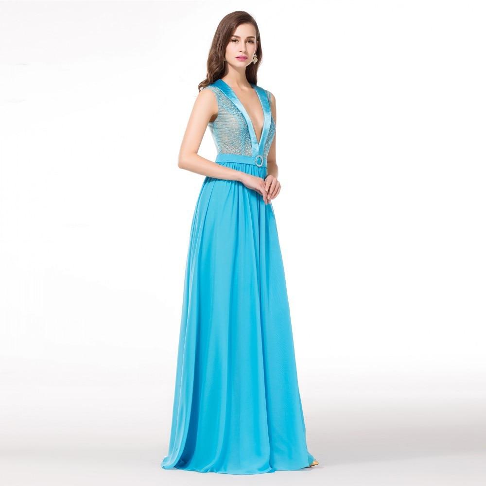 Light Blue Long Cheap Elegant Prom Dresses 2015 Chiffon V Neck ...