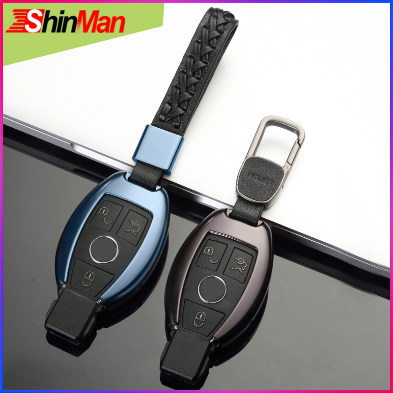 ShinMan High Quality Aluminum Alloy Car key Cover key Case For Mercedes Benz B R. G. class GLK GLA w204 W251 W463 W176 keychain