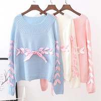 Fall Japanese Women Sweaters Soft Sister Lace Up Ribbons Young Girl Preppy style Lovely Cute Knitting Shirt Solid Pink Sweater