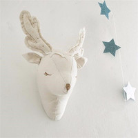 INS 3d Deer Unicorn Animals Head Wall Sticker Decorations Kids Child Baby Room Plush Wall Hangings
