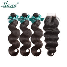 ILARIA HAIR Brazilian Body Wave Human Hair Bundles With Closure 100% Natural Remy Hair Weave 3 Bundles With 4*4 Lace Closure(China)