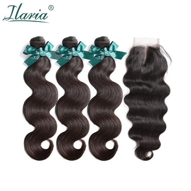 ILARIA HAIR Brazilian Body Wave Human Hair Bundles With Closure 100% Natural Remy Hair Weave 3 Bundles With 4*4 Lace Closure