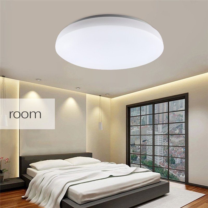 24W Round LED Ceiling Light 90-260V 6000k Bright Flush Mount Fixture Energy Saving Ceiling lamp for Indoor Bedroom lightint 36w led kitchen panel light energy saving bright 220v rectangular 600 600integrated chandelieledpanel ceiling lampr