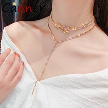 купить CANNER Luxury Shining Crystal Necklace Women Choker Necklace Rhinestone Pendant Necklace Long/Statement collares collier FI дешево