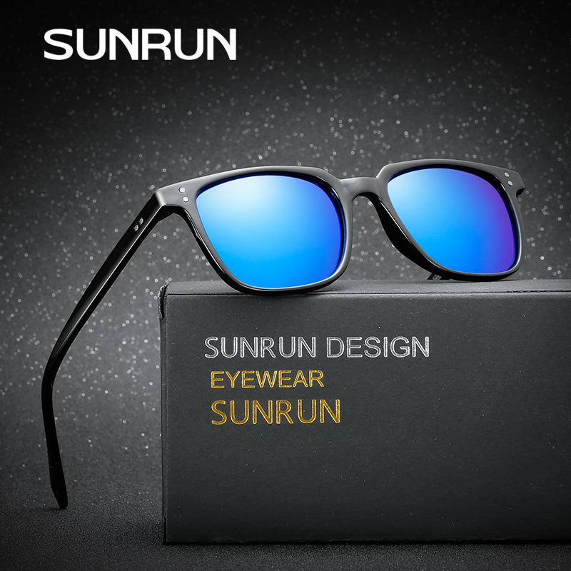 fcc71d083feb2 SUNRUN 2017 Classic Brand Squared Men Sunglasses Retro Rivet Stripe  Exquisite Coating Mirror Sun Glasses Male Oculos Gafas Z3246
