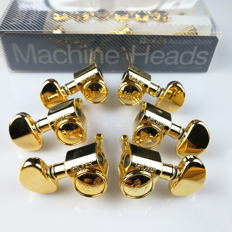 3R-3L Genuine Original Grover Electric Guitar Machine Heads Tuners Golden Tuning Pegs  ( With packaging ) a set chrome sealed gear tuning pegs machine heads tuners for guitar with black big square wood texture buttons