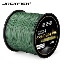 JACKFISH 4 strand 500M Super Strong PE Braided Fishing Line 10-60LB PE Fishing Line With gift Carp Fishing Saltwater