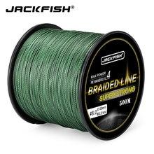 Jackfish 4 strand 500m super forte pe trançado linha de pesca 10-60lb pe linha de pesca com presente carpa pesca de água salgada