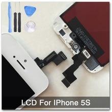 100% хорошее качество Замена Для iPhone 5S ЖК-ДИСПЛЕЙ С Сенсорным Экраном + Дисплей Планшета Ассамблеи Белый