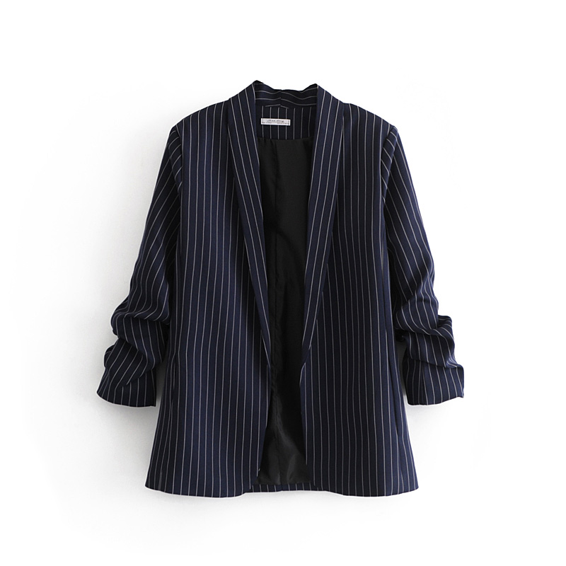 2019 spring casual striped blazer feminino long sleeve blazer women cardigan coat women navy blue womens clothing