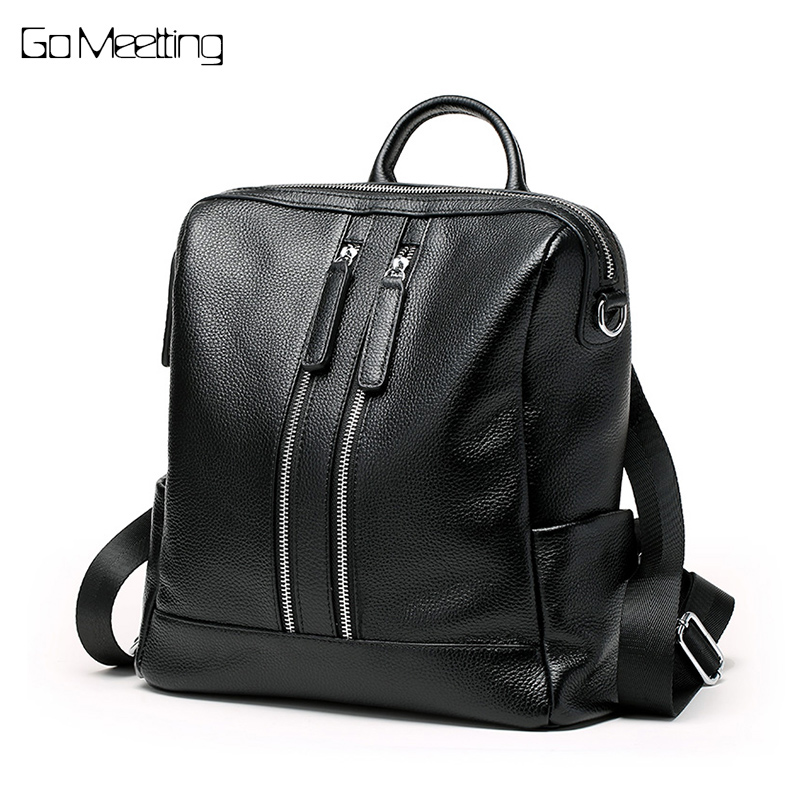 Go Meetting 2018 New Soft Genuine Leather Backpack Women Brand Ladies Backpacks for Teenage Girls School Bag Mochila Feminina fashion leather women backpacks high capacity brand school bag for teenage girls casual style design mochila ladies new arrival