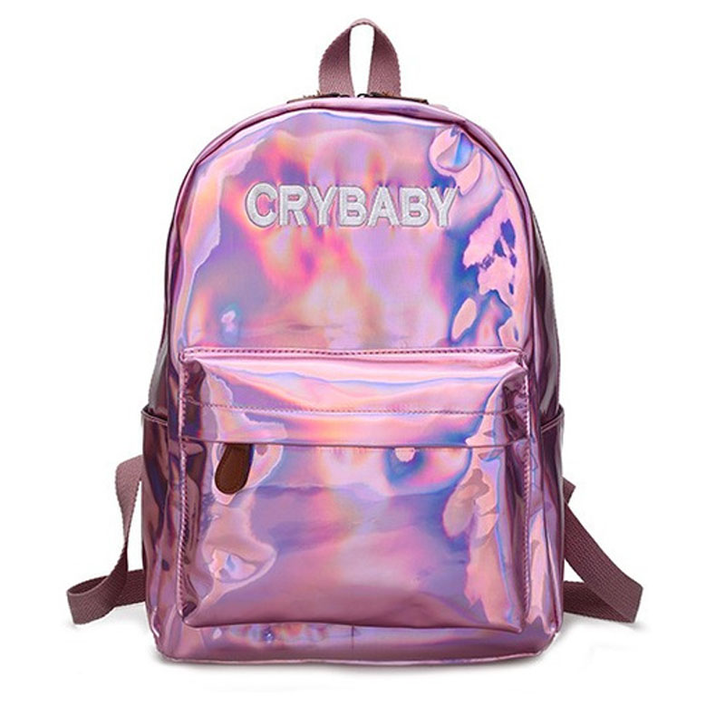 2018 Harajuku Embroidery Letters Crybaby Hologram Laser Backpack Women Soft PU Leather Backpack School Bags For