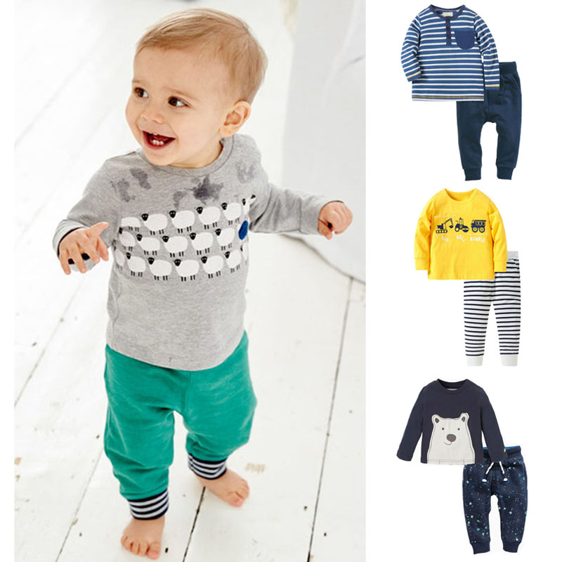 Branded New 2018 Quality 100% Cotton Baby Boys Clothing Toddler Boys Clothes Sets Long Sleeve 2pcs Children Suits Boys Baby Sets 2017 new boys clothing set camouflage 3 9t boy sports suits kids clothes suit cotton boys tracksuit teenage costume long sleeve