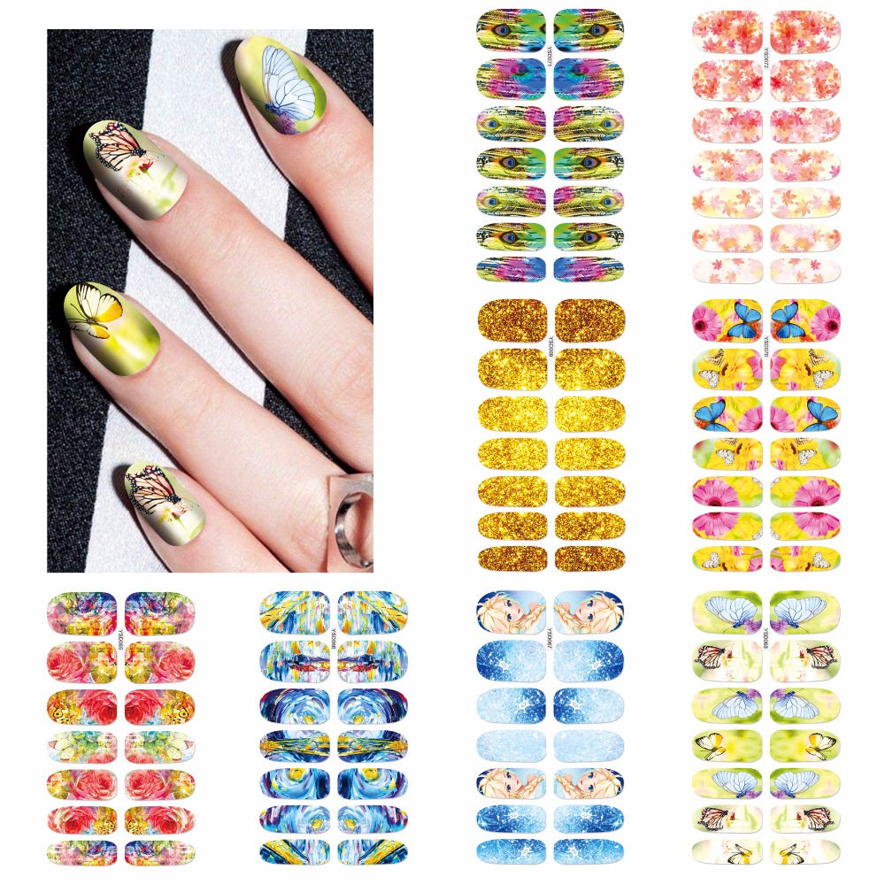 ZKO 1 Sheet Optional Nail Art Water Tattoo Design Nails Flowers Water Transfer Sticker Nail Art Water Decals 30 pcs floral design manicure transfer nail art tips stickers decals 3d flowers beauty tickers for nails