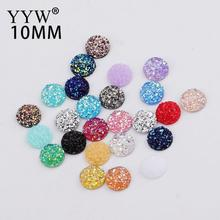 New Fashion 100pcs 10mm Mix Colors and Water Green AB Color Flat Back Resin Cabochons Cameo