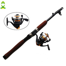 JSM 2.1m Fiberglass Telescope Baitcasting Fishing Rod And Reel Fly Fishing Casting Spinning Fishing Rod Combo
