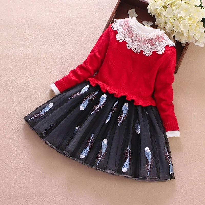 Girls Knit Sweater Autumn Winter Kids Clothing Two-Piece Suit Long-Sleeve Sweaters Top+Princess Dress Suit Children Wear Coat