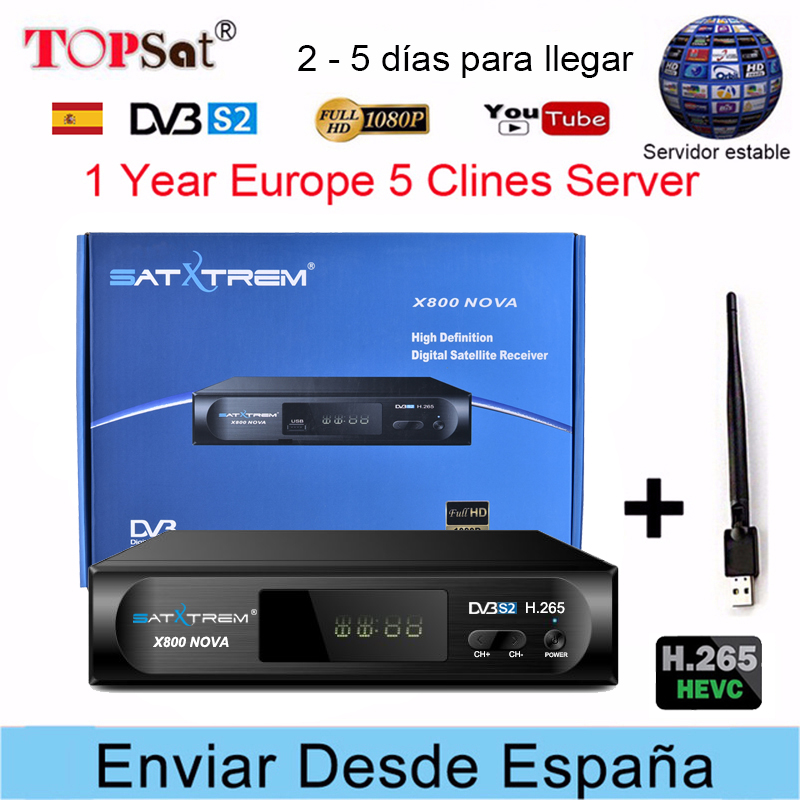 PK V8 NOVA Receptor DVB-S2 Satellite TV Receiver Decoder + Europe cccam cline for 1 year spain +USB WIFI support H.265 decoder europe 5 lines cccam cline for 1 year spain germany tv for dvb s s2 satellite receiver v7 hd v8 super iks receptor