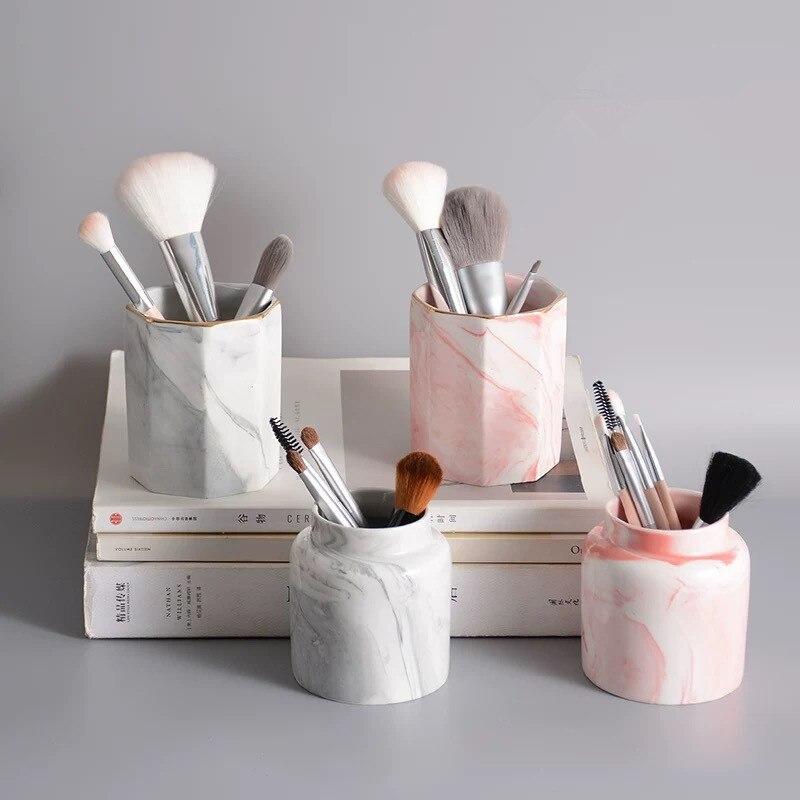 Container Bucket-Pen Storage-Holder Pencil Marble Cosmetic-Brush Ceramic Multi-Purpose