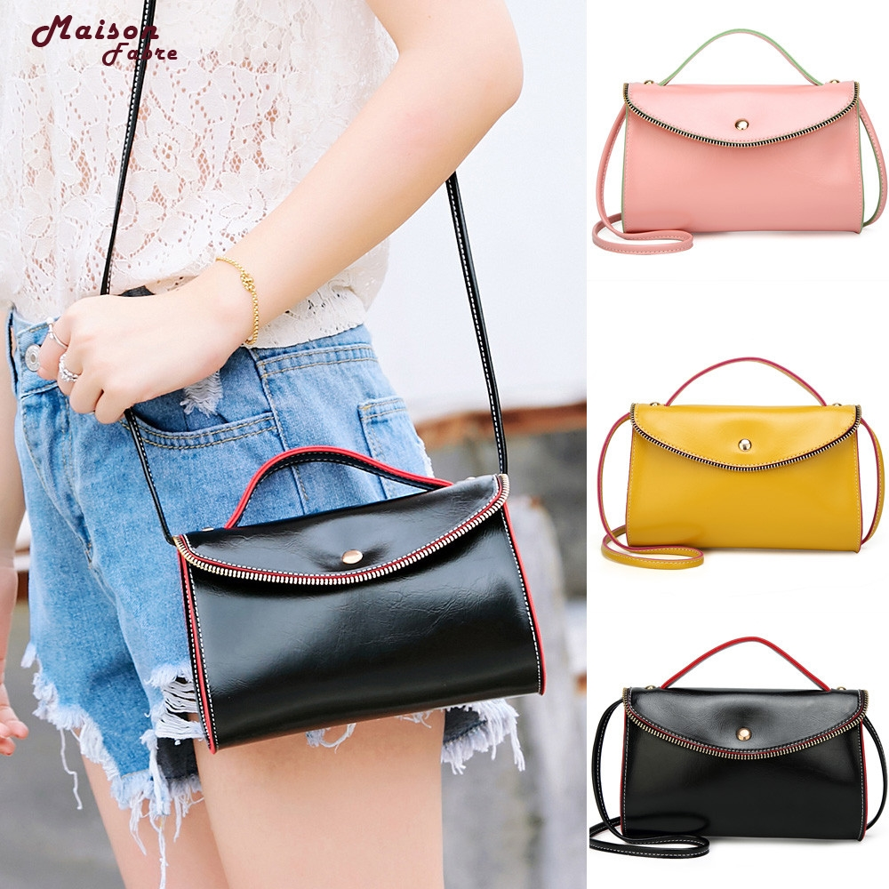 Maison Fabre Fashion Women Leather Hit color Crossbody Bag Shoulder Bag Hand Bag Dropshipping _E22